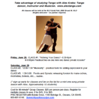 Alex Krebs workshops in San Luis Obispo 6/28 and 6/29